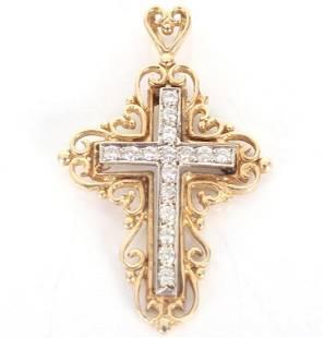 14K YELLOW GOLD DIAMOND CROSS PENDANT - .32 CTW