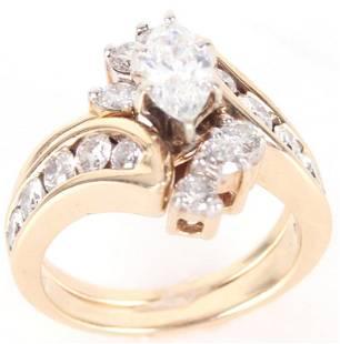 14K YELLOW GOLD DIAMOND LADIES WEDDING RING SET