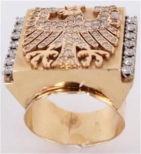 14K YELLOW GOLD PHOENIX DIAMOND MEN'S RING - 21.9G