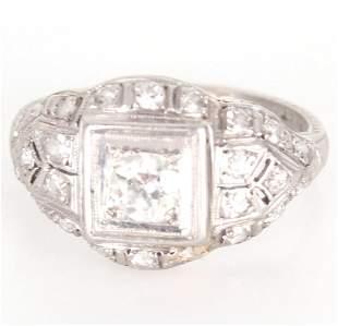 PLATINUM LADIES ART DECO DIAMOND RING