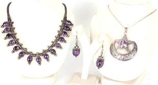 STERLING SILVER & AMETHYST NECKLACES(2) & EARRINGS
