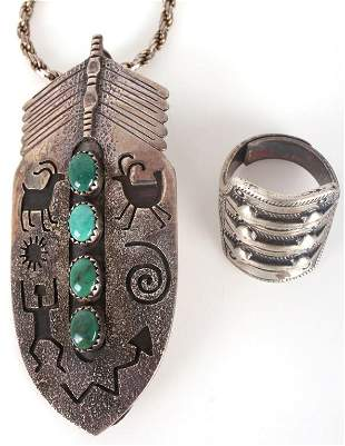 NATIVE AMERICAN STERLING SILVER PENDANT & RING