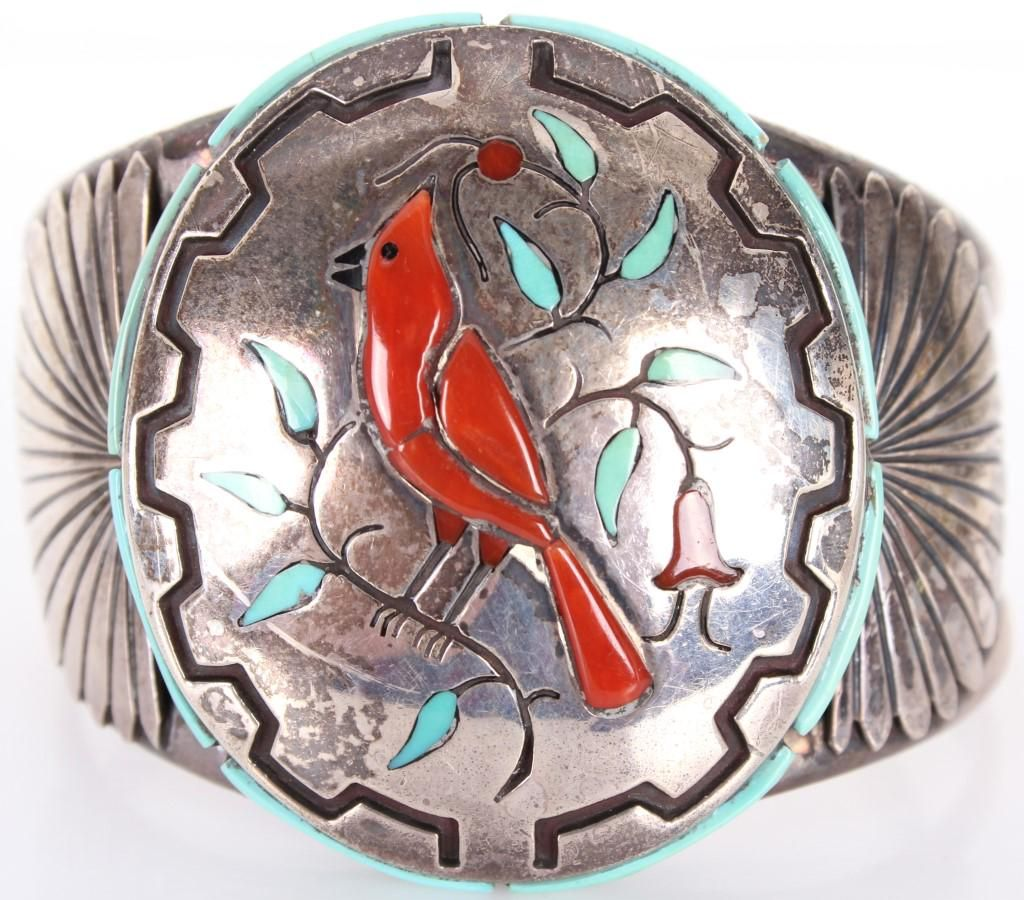 VINTAGE STERLING SILVER & TURQUOISE ROBIN CUFF