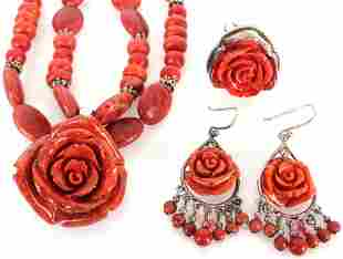 PAIGE WALLACE DESIGNER RED ROSE JEWELRY SET