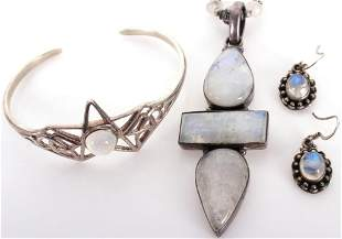 STERLING SILVER & MOONSTONE JEWELRY SET - LOT OF 3