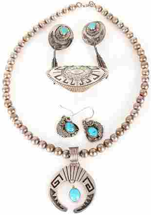 NAVAJO ENGRAVED SILVER & TURQUOISE JEWELRY - (4)