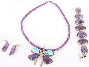 EXOTIC AMETHYST AND TURQUOISE JEWELRY SET - (3)
