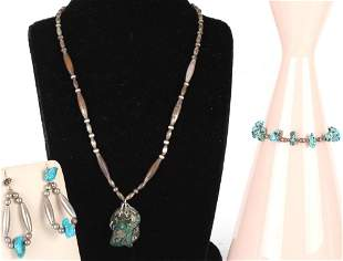 VINTAGE NAVAJO SILVER AND TURQUOISE JEWLERY - (3)