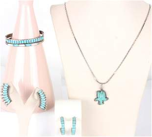 VINTAGE SILVER & TURQUOISE NAVAJO JEWELRY - (5)