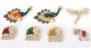 LARGE BROOCHES COSTUME JEWELRY - LOT OF 7