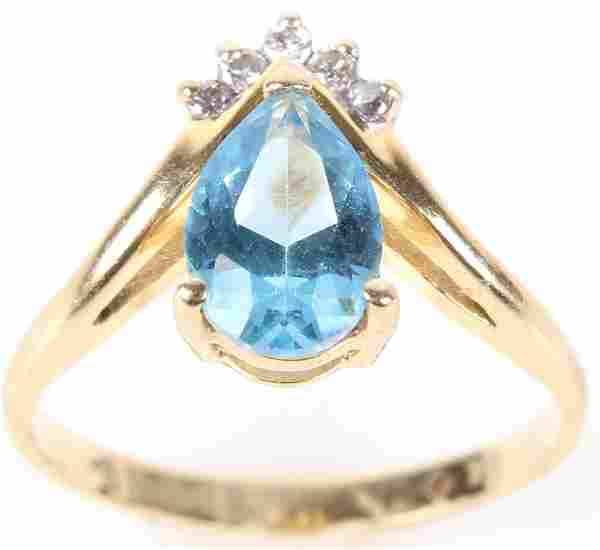 14K YELLOW GOLD SAPPHIRE DIAMOND LADIES RING