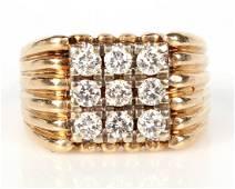 14K YELLOW GOLD DIAMOND MEN'S RING - 1.35 CTW