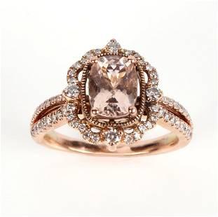 14K YELLOW GOLD DIAMOND & MORGANITE RING - .68 CTW