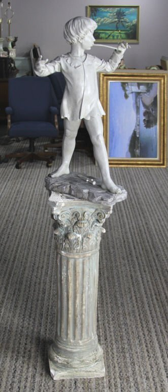 COMPOSITE PETER PAN STATUE ON PLASTER PEDESTAL