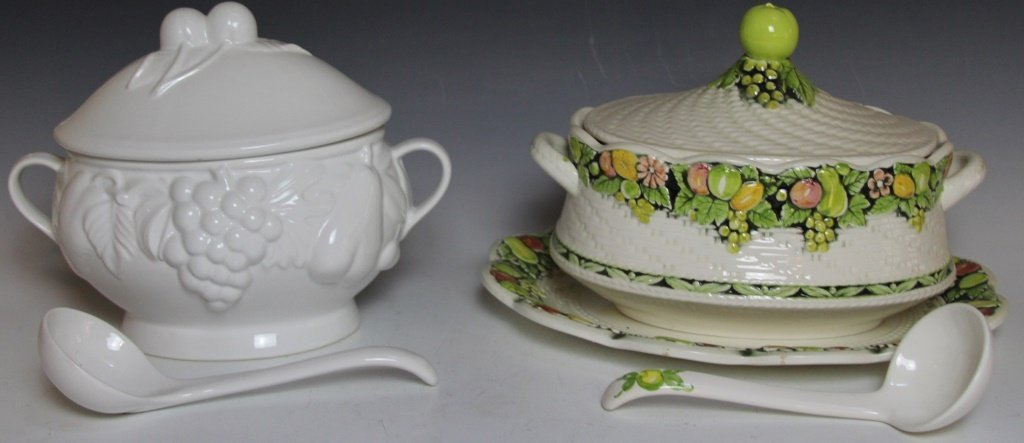 TWO PORCELAIN TUREENS