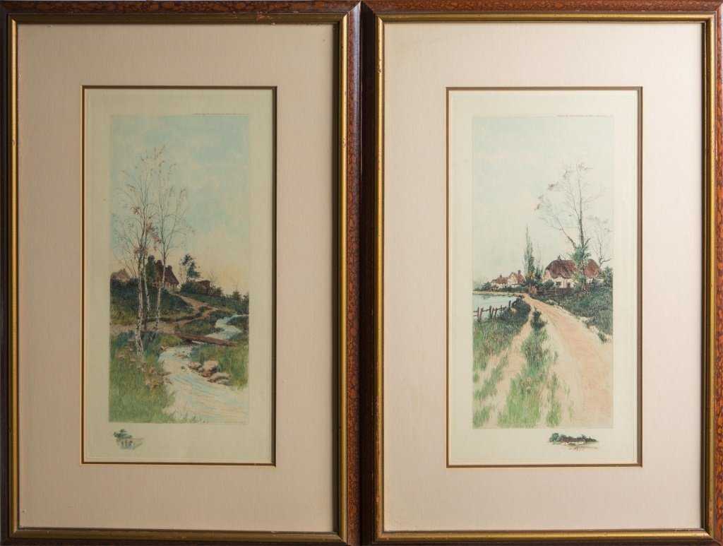 (2) FRAMED HAND COLORED ETCHINGS BY VITAER