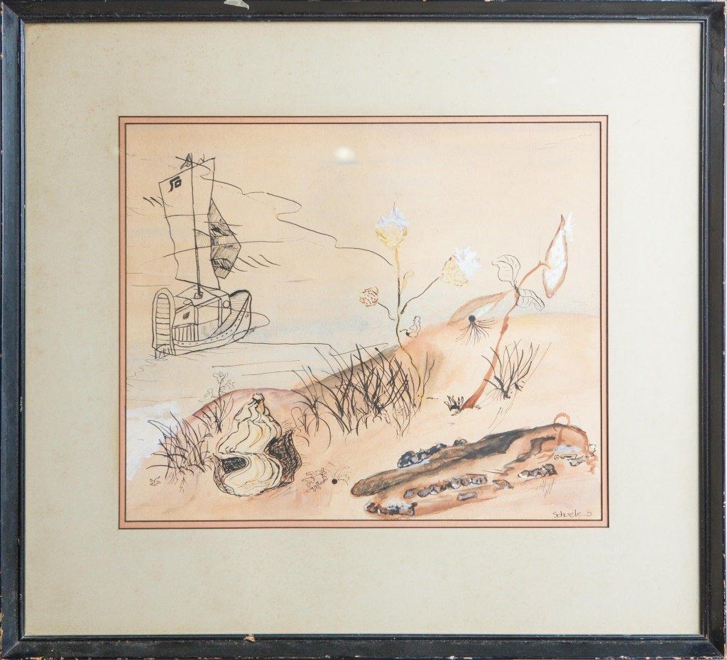 SCHUELE B. INK & WATERCOLOR DRAWING FRAMED
