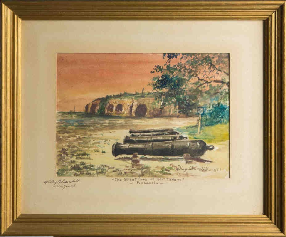 WILEY CHURCHILL WATERCOLOR FORT PICKENS PENSACOLA