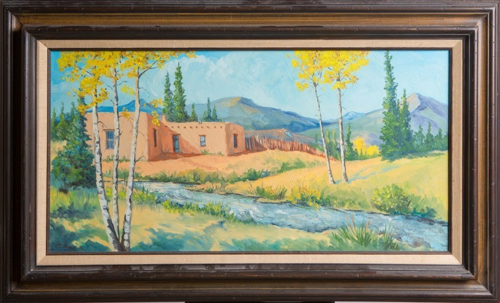 SIGNED OIL ON BOARD PAINTING OF A LANDSCAPE SCENE
