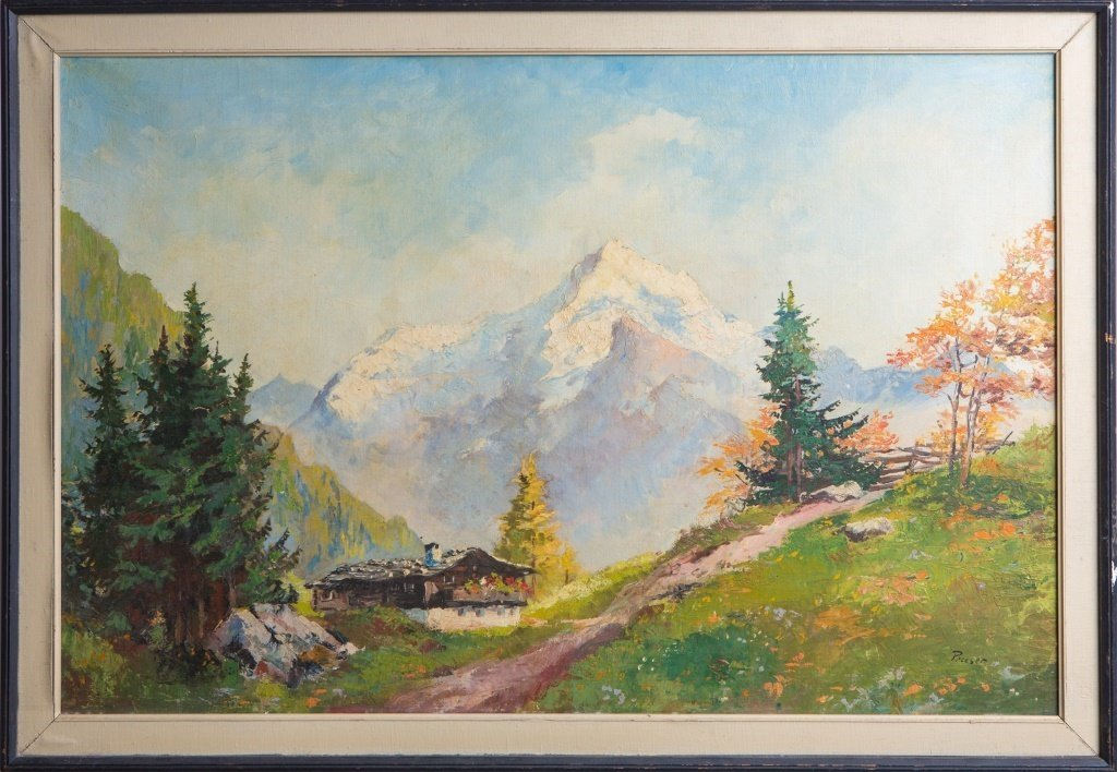 SIGNED OIL ON CANVAS MOUNTAIN LANDSCAPE