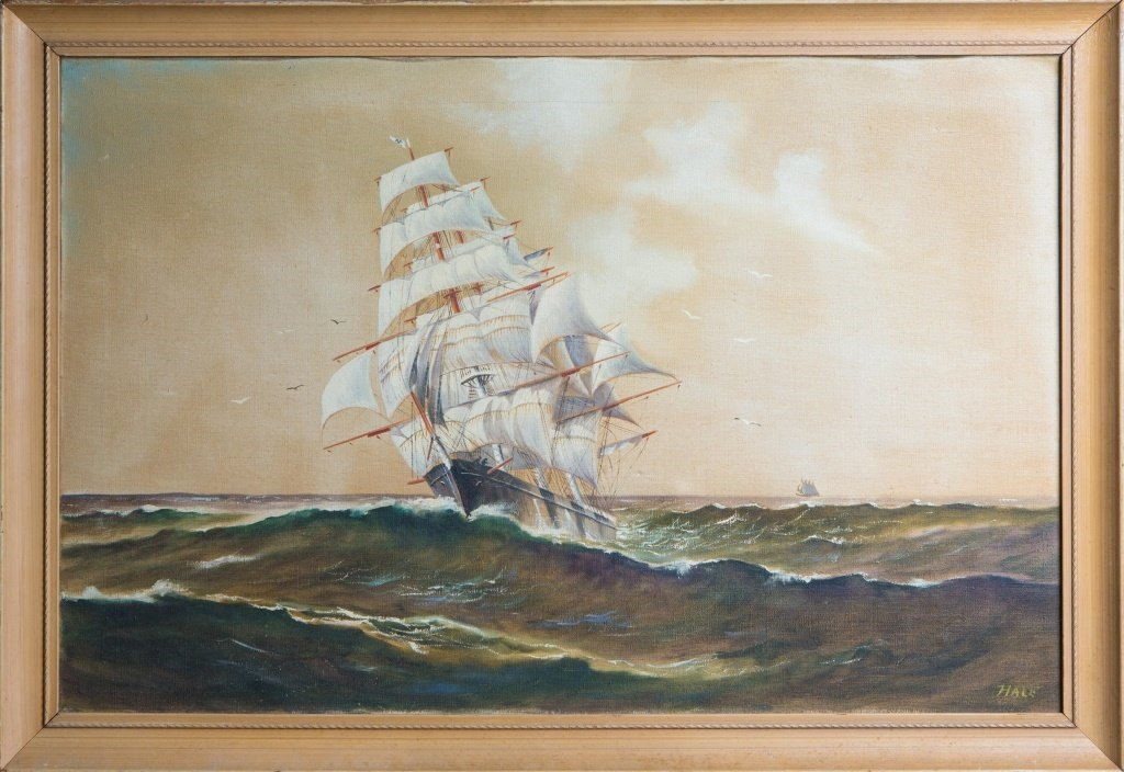 SIGNED OIL PAINTING OF A SAILBOAT AT SEA