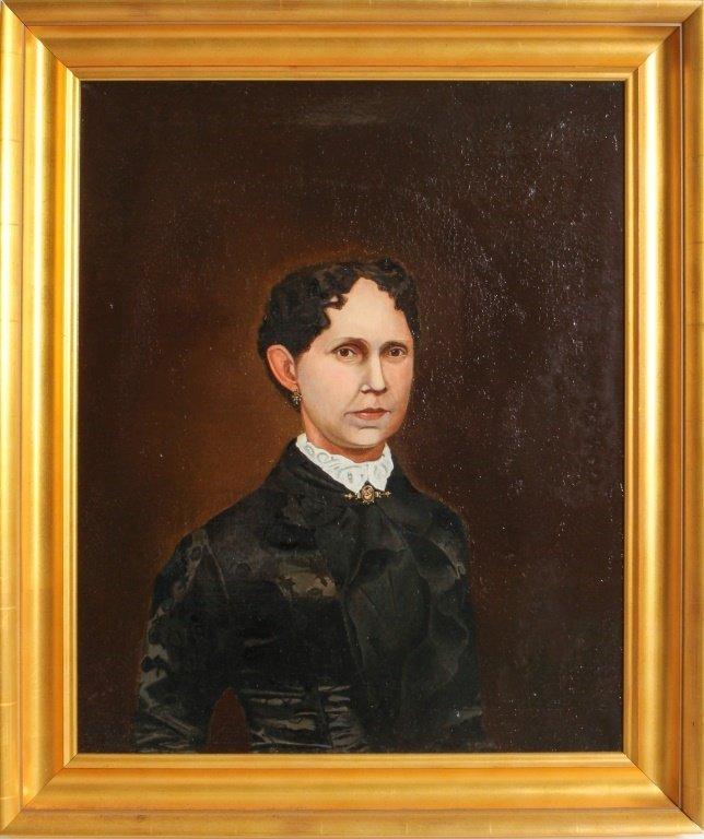 AMERICAN SCHOOL PORTRAIT WOMAN IN MOURNING 19TH C