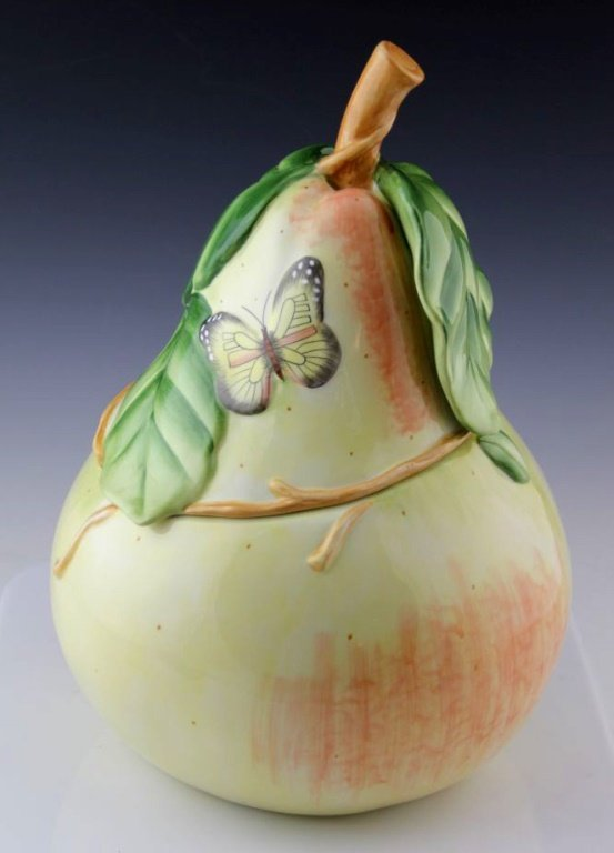FITZ AND FLOYD SOMMER HILL LARGE PEAR COOKIE JAR