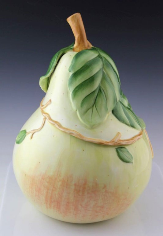 FITZ AND FLOYD SOMMER HILL LARGE PEAR COOKIE JAR - 2