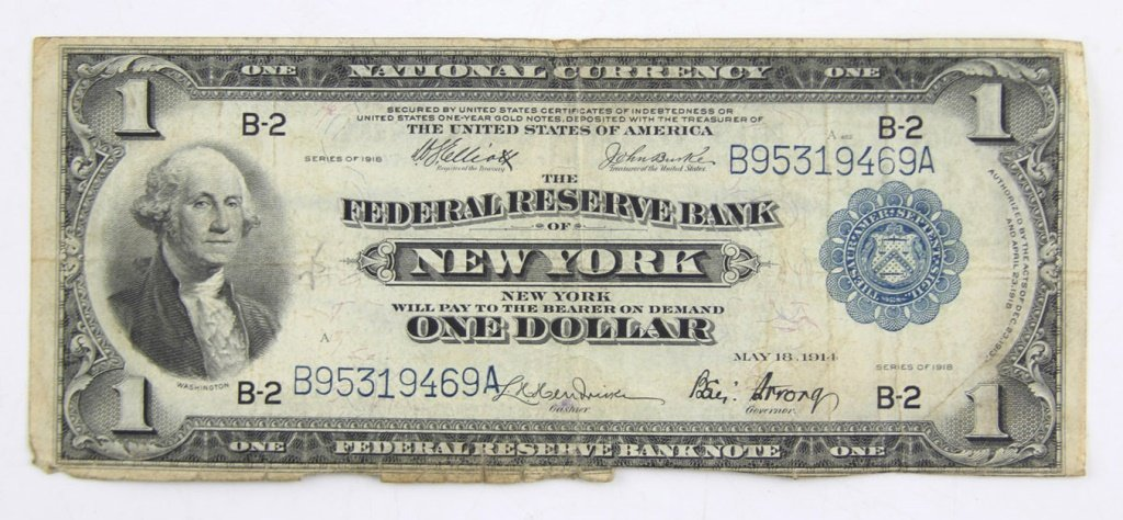 FEDERAL RESERVE $1 FLYING EAGLE NOTE NEW YORK 1918