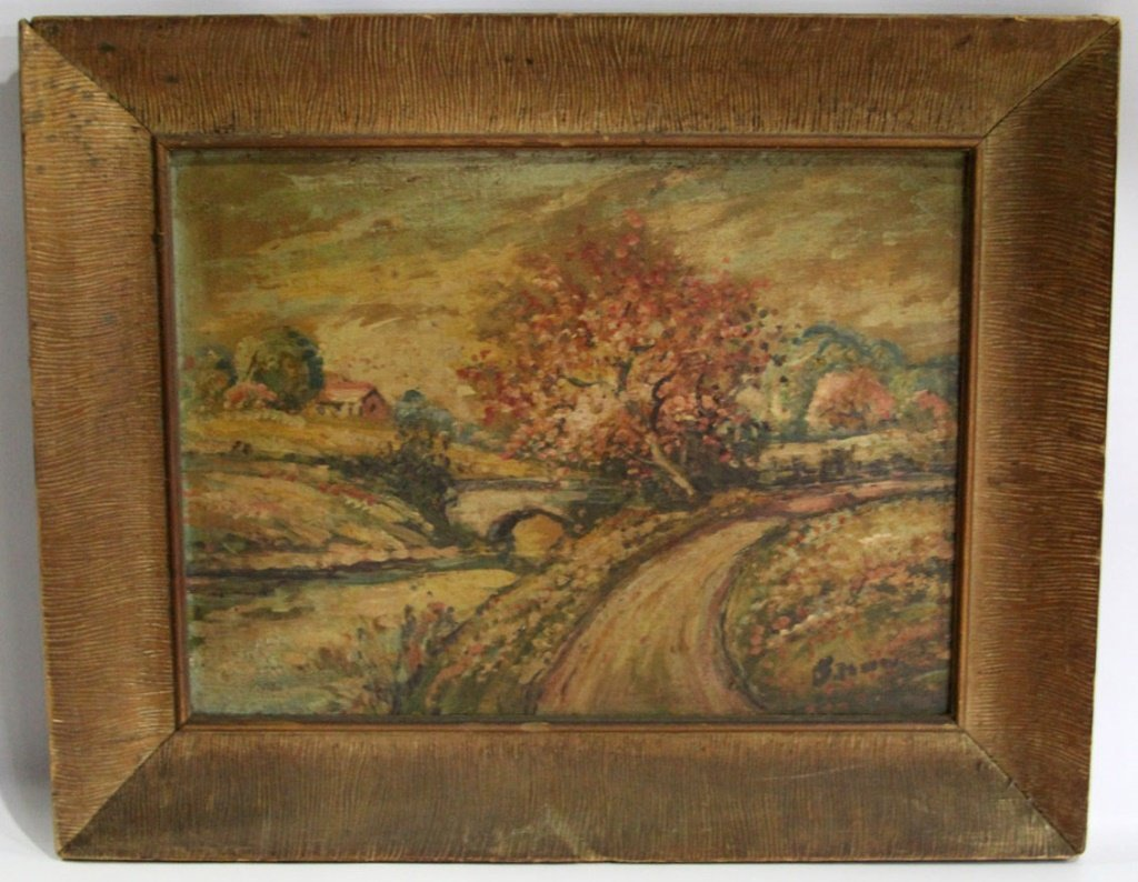 20TH C. OIL ON BOARD COUNTRYSIDE LANDSCAPE