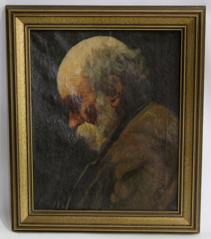 PORTRAIT OF AN OLD MAN OIL ON CANVAS SIGNED