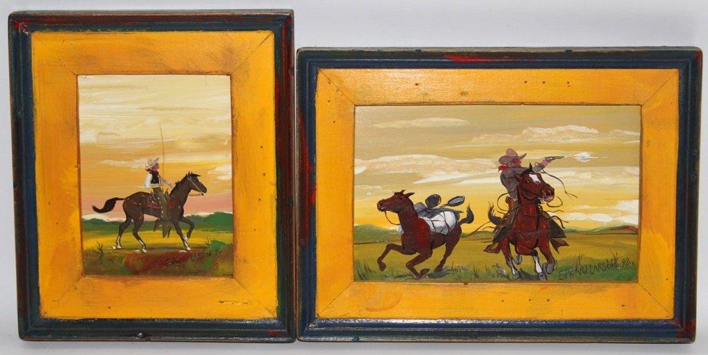 (2) WESTERN PAINTINGS ED LARSON SANTA FE FOLK ART