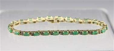 LADIES 14K YELLOW GOLD EMERALD & DIAMOND BRACELET