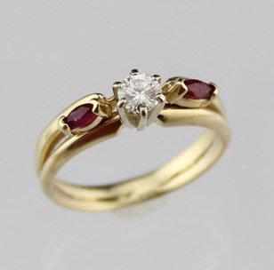 LADIES 14K YELLOW GOLD DIAMOND & RUBY WEDDING SET
