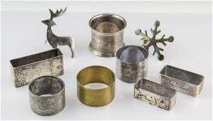 (8) STERLING SILVER & SILVER PLATE NAPKIN RINGS