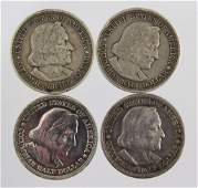 LOT OF 4 1893 US SILVER COLOMBIAN EXPO HALF $ COIN