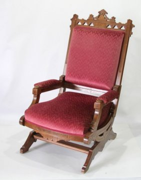 Eastlake Style Gliding Rocker With Red Upholstery