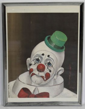 Signed Red Skelton Clown Art Print Framed