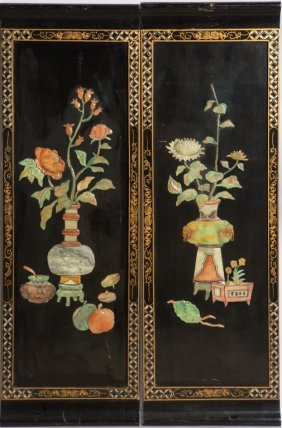 Lot Of Two Chinese Stone Inlay Lacquer Wood Panels