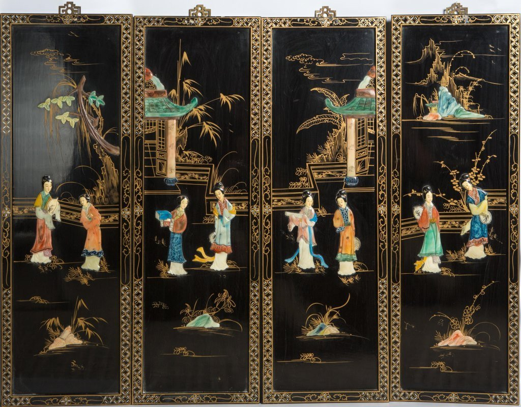 LOT OF 4 CHINESE STONE INLAY LACQUER WOOD PANELS