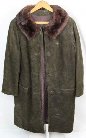 Ladies Brown Suede Leather Coat W Mink Fur Trim