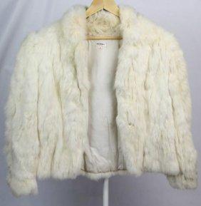Ladies White Rabbit Fur Coat Made In China
