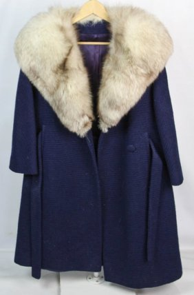 Stevens Forstmann Ladies Fox Fur Trim Blue Coat