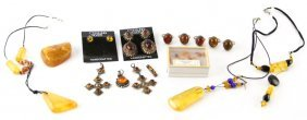 Assorted Sterling Silver & Amber Jewelry