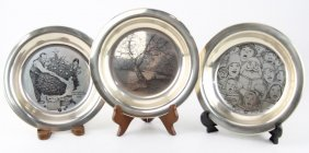 (3) Franklin Mint Collectible Sterling Plates