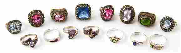 MIXED LADIES STERLING SILVER FASHION RINGS