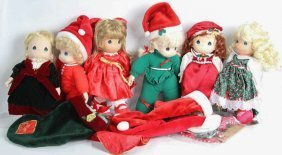Lot Of Six Precious Moments Christmas Dolls