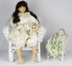 Lot Of Two Dolls With Wicker Chairs