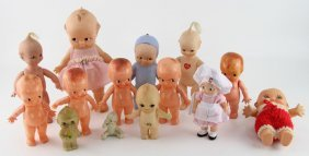 Lot Of 14 Mixed Rubber & Plastic Kewpie Dolls