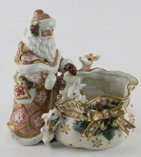 Fitz & Floyd Porcelain Snow Woods Candy Dish